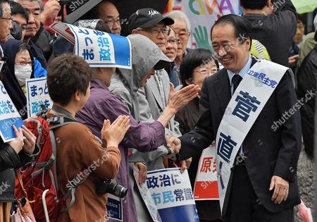Former Prime Minister Naoto Kan attends the stump speech near the Kichijojii station