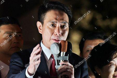 Leader of Democratic Party, Seiji Maehara speaks during the stump speech near the Oimachi station