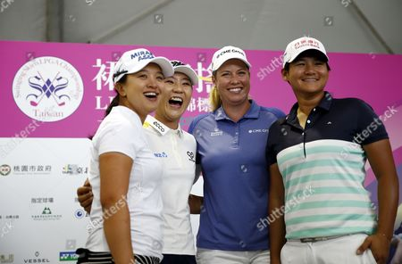 (L-R) Sei Young Kim of South Korea, Lydia Ko of New Zealand, Brittany Lincicome of the USA and Yani Tseng of Taiwan pose for photograph during a photo-call for the Swinging skirts LPGA Championship in New Taipei city, Taiwan, 16 October 2017. Swinging skirts LPGA Championship will run from 19 to 22 October 2017.