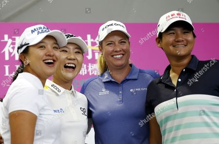 Stock Picture of (L-R) Sei Young Kim of South Korea, Lydia Ko of New Zealand, Brittany Lincicome of the USA and Yani Tseng of Taiwan pose for photograph during a photo-call for the Swinging skirts LPGA Championship in New Taipei city, Taiwan, 16 October 2017. Swinging skirts LPGA Championship will run from 19 to 22 October 2017.