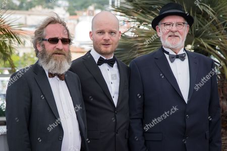 Sigurdur Sigurjonsson, director Grimur Hakonarson and Theodor Juliusson pose for photographers during the photo call of the film Hrutar (Rams) at the 68th international film festival, Cannes, southern France