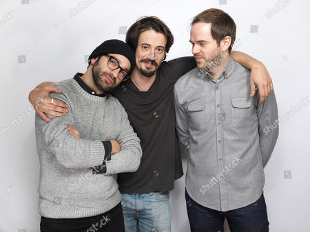 """Producer Antonio Campos, from left, director Josh Mond and producer Sean Durkin pose for a portrait to promote the film, """"James White"""", at the Eddie Bauer Adventure House during the Sundance Film Festival, in Park City, Utah"""