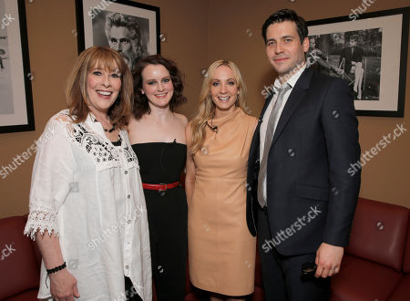 """Phyllis Logan, left, Sophie McShera, second from left, Joanne Froggatt and Robert James-Collier, right, attend An Afternoon with """"Downton Abbey"""" presented by the Television Academy at Paramount Studios, in Hollywood, Calif"""