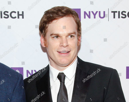 "Michael C. Hall attends the NYU Tisch School of the Arts 2015 Gala at Jazz at Lincoln Center's Frederick P. Rose Hall in New York. The New York Theatre Workshop said Tuesday that Hall will star in the musical ""Lazarus"" this winter by David Bowie and ""Once"" playwright Enda Walsh. Hall will play Thomas Newton, which Bowie portrayed in a 1976 film version"