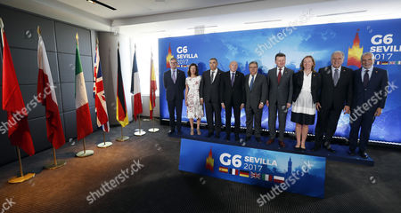 (L-R) EU security commissioner Julian King; British Minister of State at the Home Office Susan Williams; Moroccan Home Minister Abdelouafi Laftit; French Home Minister Gerard Collomb; Spanish Home Minister Juan Ignacio Zoido; Polish Interior Minister Mariusz Blaszczak; German State Secretary at the Federal Ministry of the Interior Emily Haber; European Commissioner for Migration, Home Affairs and Citizenship Dimitris Avramopoulo and Italian Ambassador Stefano Sannino pose for a family photo in the framework of a G6 Home Ministers meeting in Seville, Spain, 16 October 2017. Home ministers from G6 (Spain, France, Germany, UK, Italy and Poland) plus EU and Morocco attend the meeting to analyze the security challenges in Europe, the fight against jihadist terrorism and migration cooperation.