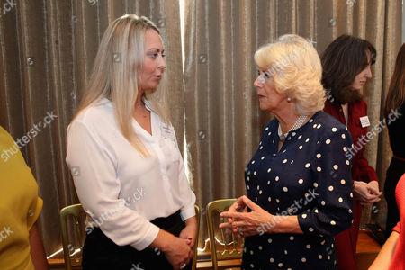 Camilla Duchess of Cornwall (R) meets Laura Prescott (L)