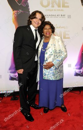 "Prince Jackson, left, and Katherine Jackson arrive at the world premiere of ""Michael Jackson ONE"" at THEhotel at Mandalay Bay Resort and Casino in Las Vegas. Records filed by Jackson's estate executors in a Los Angeles probate court show that nearly $20 million was paid to support Katherine Jackson and her three grandchildren now in her care in the first three and a half years after her son Michael Jackson's death in June 2009. The payments by his estate to his mother and children have paid for everything from school tuition, tutors, vacations, the rental of a mansion and paying off the Jacksons' longtime family home located in Encino"