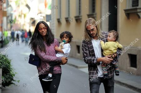 Zoe Saldana, Marco Perego and children Cy Aridio Perego-Saldana, Bowie Ezio Perego-Saldana and Zen Perego-Saldana