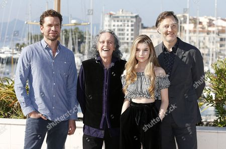 Danish actor Nikolaj Lie Kaas (L), British musician Donovan (2-L), British actress Eleanor Worthington Cox (2-R) and British actor David Morrissey (R) pose during a photocall for the TV series 'Britannia' at the annual MIPCOM television content market in Cannes, France, 16 October 2017. The media event runs from 16 to 19 October.