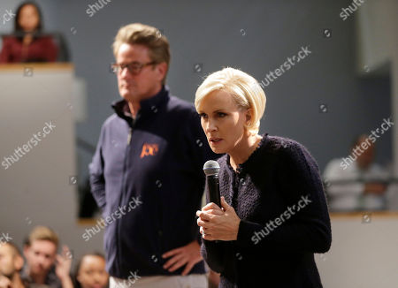 """Joe Scarborough, Mika Brzezinski. MSNBC television anchors Joe Scarborough, left, and Mika Brzezinski, right, co-hosts of the show """"Morning Joe,"""" take questions from an audience, at a forum called Harvard Students Speak Up: A Town Hall on Politics and Public Service, at the John F. Kennedy School of Government, on the campus of Harvard University, in Cambridge, Mass"""