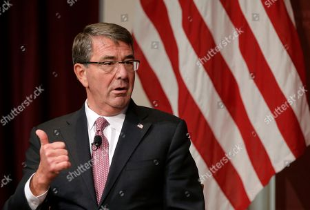 """Harvard professor Ash Carter, former U.S. secretary of defense, addresses an audience, at a forum called """"Perspectives on National Security,"""" at the John F. Kennedy School of Government, on the campus of Harvard University, in Cambridge, Mass"""