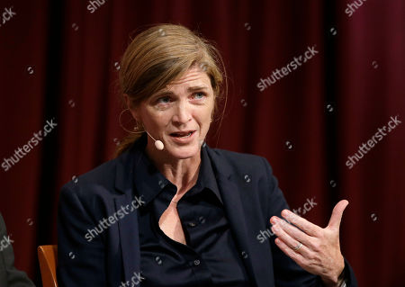"""Harvard professor Samantha Power, former U.S. Ambassador to the United Nations, addresses an audience, at a forum called """"Perspectives on National Security,"""" at the John F. Kennedy School of Government, on the campus of Harvard University, in Cambridge, Mass"""