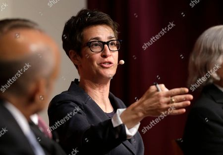 "MSNBC television anchor Rachel Maddow, host of the Rachel Maddow Show, moderates a panel, at a forum called ""Perspectives on National Security,"" at the John F. Kennedy School of Government, on the campus of Harvard University, in Cambridge, Mass"
