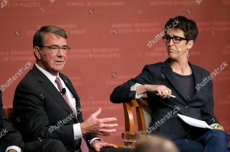 "Ash Carter, Rachel Maddow. Harvard professor Ash Carter, former U.S. secretary of defense, left, and MSNBC television anchor Rachel Maddow, host of the Rachel Maddow Show, right, take questions from an audience, at a forum called ""Perspectives on National Security,"" at the John F. Kennedy School of Government, on the campus of Harvard University, in Cambridge, Mass"