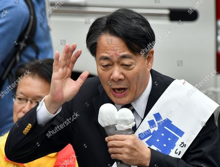 Banri Kaieda, former leader of now defunct Democratic Party of Japan, addresses during his campaign rally at Tokyos Shinjuku district on Saturday, October 14, 2017. Kaieda is running from newly-formed left-leaning Constitutional Democratic Party in the October 22 general election.