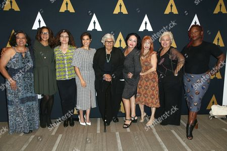 Ingrid Oliu, Patricia Cardoso, America Ferrera, Josefina Lopez, Marilyn R. Atlas, Soledad St. Hilaire, Effie Brown and guests