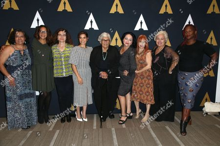 Ingrid Oliu, Patricia Cardoso, America Ferrera, Josefina Lopez, Marilyn R. Atlas, Soledad St. Hilaire, Effie Brown and guest