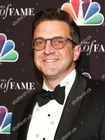 Raul Esparza poses in the press room at the Broadcasting & Cable Hall of Fame Awards 27th Anniversary Gala at the Grand Hyatt New York, in New York