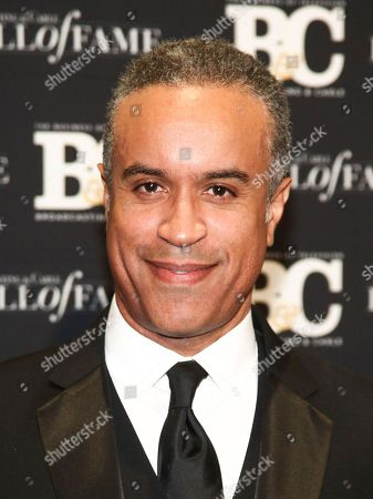 Maurice DuBois poses in the press room at the Broadcasting & Cable Hall of Fame Awards 27th Anniversary Gala at the Grand Hyatt New York, in New York