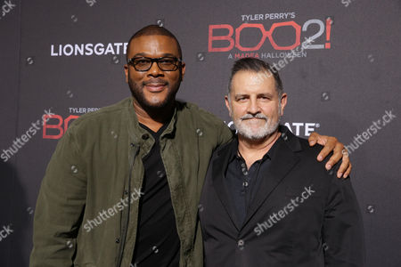 Stock Picture of Tyler Perry, Writer/Director/Producer, and Tim Palen, Chief Brand Officer and President of Worldwide Marketing at Lionsgate