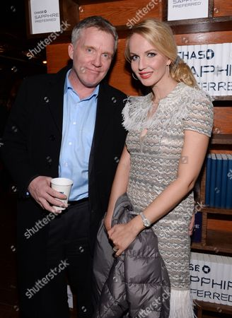 """Actor Anthony Michael Hall and girlfriend Lucia Oskerova attend the """"Indiewire in Conversation"""" panel at Chase Sapphire on Main, on in Park City, Utah"""