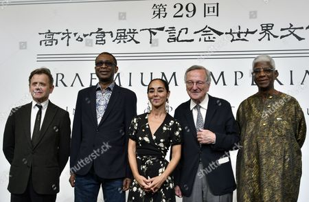 (L-R) Russian-American ballet dancer Mikhail Baryshnikov, Senegalese singer, songwriter and composer Youssou N?Dour, Iranian-born artist Shirin Neshat, Spanish architect Rafael Moneo and Ghanaian sculptor El Anatsui pose for a photo during a photo call for the 29th Praemium Imperiale in Tokyo, Japan, 17 October 2017. The Praemium Imperiale is a global arts prize awarded annually by the Japan Art Association. Five laureates are nominated in the fields of Painting, Sculpture, Architecture, Music and Theatre/Film. For its 29th edition, the Praemium Imperiale awards have been given to Russian-American ballet dancer Mikhail Baryshnikov, Senegalese singer, songwriter and composer Youssou N?Dour, Iranian-born artist Shirin Neshat, Spanish architect Rafael Moneo and Ghanaian sculptor El Anatsui.