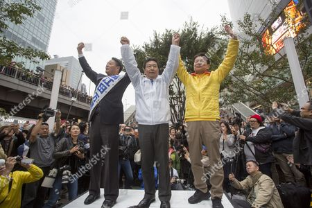 Stock Photo of Yukio Edano, leader of Constitutional Democratic Party (C), campaigning with Banri Kaieda (L) and Akira Nagatsuma in Shinjuku