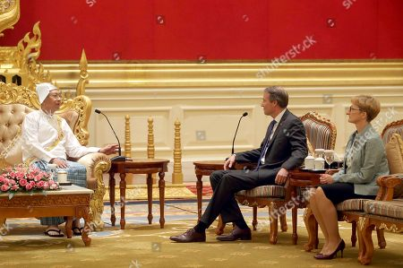 Kristian Schmidt, Htin Kyaw. Myanmar's President Htin Kyaw, left, talks with European Union's Ambassador to Myanmar Kristian Schmidt, center and Eszter Nemeth, right, head of Political, Press and Information, at the President House in Naypyitaw, Myanmar