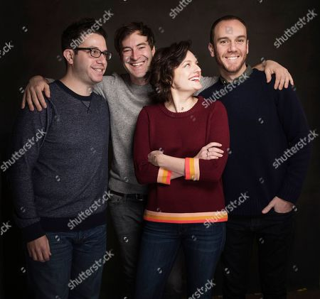 From left, Charlie McDowell, Mark Duplass, Elisabeth Moss and Justin Lader pose for a portrait at Quaker Good Energy Lodge with GenArt and the Collective, during the Sundance Film Festival, on in Park City, Utah