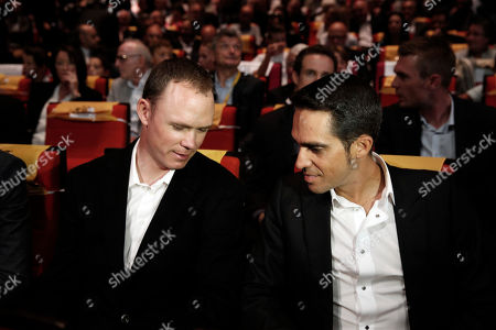 Britain's Chris Froome, left, and Spain's Alberto Contador attend the presentation of the 2018 Tour de France cycling race, in Paris, . The 105th edition of the race starts on July 7 2018 to end on the Champs-Elysees avenue on July 29