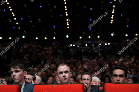 Britain's Chris Froome, center, Spain's Alberto Contador, right, and France Romain Bardet attend the presentation of the 2018 Tour de France cycling race, in Paris, . The 105th edition of the race starts on July 7 2018 to end on the Champs-Elysees avenue on July 29