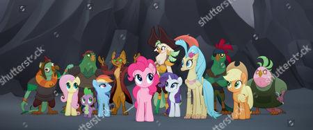 Fluttershy (Andrea Libman), Spike (Cathy Weseluck), Rainbow Dash (Ashleigh Ball), Pinkie Pie (Andrea Libman), Rarity (Tabitha St. Germain), Princess Skystar (Kristin Chenoweth) and Applejack (Ashleigh Ball)