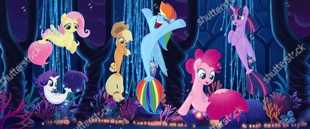 Fluttershy (Andrea Libman), Rarity (Tabitha St. Germain), Applejack (Ashleigh Ball), Rainbow Dash (Ashleigh Ball), Pinkie Pie (Andrea Libman) and Twilight Sparkle (Tara Strong)