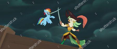 Rainbow Dash (Ashleigh Ball) and Captain Celaeno (Zoe Saldana)