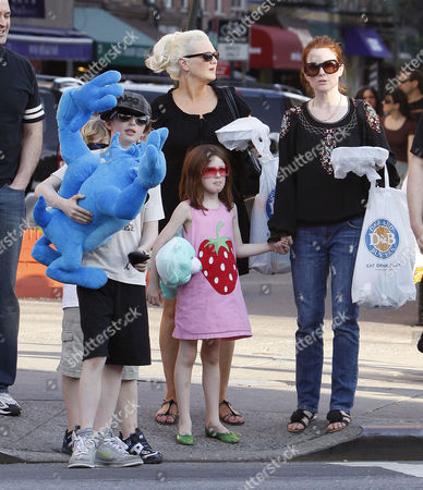 Editorial photo of Julianne Moore and children out and about, New York, America - 25 Apr 2009