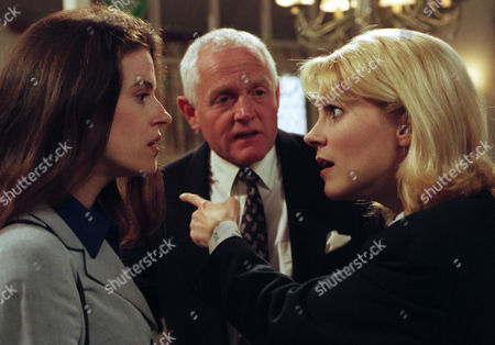 Ep 2208 Thursday 22nd May 1997 Kathy argues with Nick's new fiancee, Karen, who has shown up from nowhere and walked baby Alice home. She says that if Nick is freed they will marry and go to America with Alice - With Kathy Glover, as played by Malandra Burrows ; Karen Johnson, as played by Annemarie Lawless; Eric Pollard, as played by Christopher Chittell.