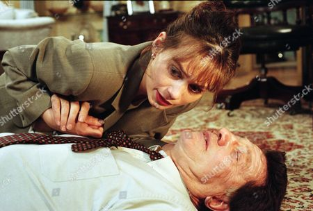 Ep 2209 Tuesday 27th May 1997  Zoe returns to Home Farm to find Frank barely alive on the floor. He manages to whispher Kim's name before dying - With Zoe Tate, as played by Leah Bracknell ; Frank Tate, as played by Norman Bowler.