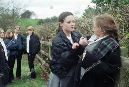Ep 2208 Thursday 22nd May 1997  Schoolboy Dean rescues Emma Cairns from Lyn and Michelle's taunting - With Lyn Hutchinson, as played by Sally Walsh; Emma Cairns, as played by Rebecca Loudonsack.
