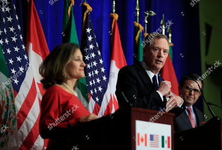 Robert Lighthizer, Chrystia Freeland, Ildefonso Guajardo Villarreal. United States Trade Representative Robert Lighthizer, center, with Canadian Minister of Foreign Affairs Chrystia Freeland, left, and Mexico's Secretary of Economy Ildefonso Guajardo Villarrea, right, speaks during the conclusion of the fourth round of negotiations for a new North American Free Trade Agreement (NAFTA) in Washington