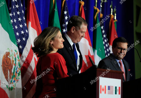 Robert Lighthizer, Chrystia Freeland, Ildefonso Guajardo Villarreal. From left, Canadian Minister of Foreign Affairs Chrystia Freeland, lUnited States Trade Representative Robert Lighthizer and Mexico's Secretary of Economy Ildefonso Guajardo Villarrea, conclude their fourth round of negotiations for a new North American Free Trade Agreement (NAFTA) in Washington