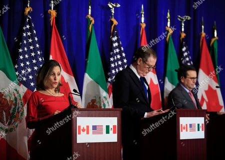 Robert Lighthizer, Chrystia Freeland, Ildefonso Guajardo Villarreal. From left, Canadian Minister of Foreign Affairs Chrystia Freeland with United States Trade Representative Robert Lighthizer and Mexico's Secretary of Economy Ildefonso Guajardo Villarreal speaks during the conclusion of the fourth round of negotiations for a new North American Free Trade Agreement (NAFTA) in Washington