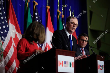 Robert Lighthizer, Chrystia Freeland, Ildefonso Guajardo Villarreal. United States Trade Representative Robert Lighthizer, center, with Canadian Minister of Foreign Affairs Chrystia Freeland, left, and Mexico's Secretary of Economy Ildefonso Guajardo Villarreal, right, speaks during the conclusion of the fourth round of negotiations for a new North American Free Trade Agreement (NAFTA) in Washington