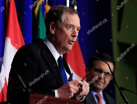 Robert Lighthizer, Ildefonso Guajardo Villarreal. United States Trade Representative Robert Lighthizer, left, with Mexico's Secretary of Economy Ildefonso Guajardo Villarreal, right, speaks during the conclusion of the fourth round of negotiations for a new North American Free Trade Agreement (NAFTA) in Washington