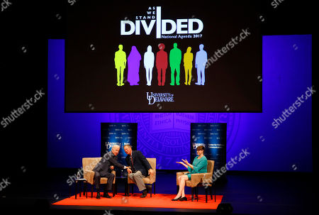 Stock Photo of Joe Biden, John Kasich, Lindsay Hoffman. Former Vice President Joe Biden, from left, Ohio Gov. John Kasich and moderator Lindsay Hoffman participate in a discussion on bridging political and partisan divides at the University of Delaware in Newark, Del