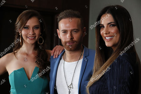 Venezuelan actress Gaby Espino, actor Luis Ernesto Franco (C) and actress Carolina Miranda (L) pose during the launching of Senora Acero fourth season, in Mexico City, Mexico, 17 October 2017. The TV series is based on immigrants and their battle to reach the American dream.