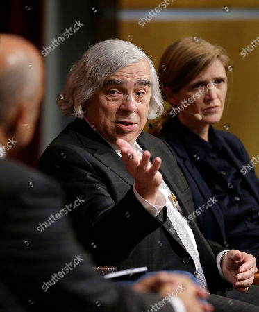 """Stock Photo of Ernest Moniz, Samantha Power. Ernest Moniz, former U.S. Secretary of Energy, center, takes questions as Harvard professor Samantha Power, former U.S. Ambassador to the United Nations, right, looks, at a forum called """"Perspectives on National Security,"""" at the John F. Kennedy School of Government, on the campus of Harvard University, in Cambridge, Mass"""