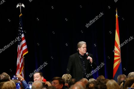 Steve Bannon, former strategist for President Donald Trump, speaks at a campaign rally for Arizona Senate candidate Kelli Ward, in Scottsdale, Ariz. Ward is running against incumbent Republican Jeff Flake in next year's GOP primary