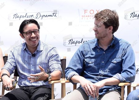 IMAGE DISTRIBUTED FOR TWENTIETH CENTURY FOX HOME ENTERTAINMENT - Actor Efren Ramirez, left, and actor Jon Heder attend the Napoleon Dynamite statue dedication and cast panel discussion on the 20th Century Fox Studios lot in Los Angeles on . Napoleon Dynamite: 10 Sweet Years Edition is available now on Blu-ray and DVD