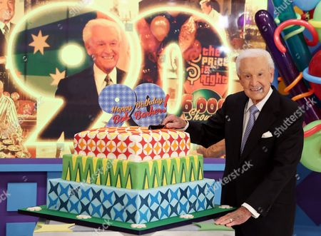 "Bob Barker poses for a photo on the set of ""The Price is Right"" after a special appearance that will celebrate his 90th birthday at CBS Studios, in Los Angeles. Barker is resting at home after taking a fall on a Los Angeles street on Tuesday morning, Oct. 20, 2015. Barker's longtime friend and publicist, Henri Bollinger, said the former ""The Price is Rightâ?? host suffered a cut to his head that required stitches, and a scraped leg"