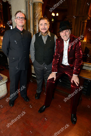 Stock Image of David Coulter, Brian Cox and Richard Strange at the filming of Richard Strange's A Mighty Big If in association with Soho charity The House of St Barnabas and HiBROW.tv, a content platform for the Arts, on in London